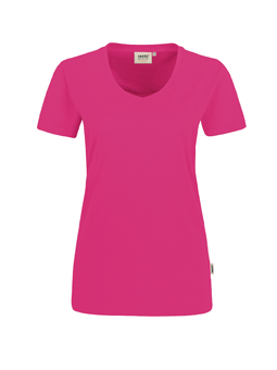 Damen Shirt in Magenta mit V-Ausschnitt