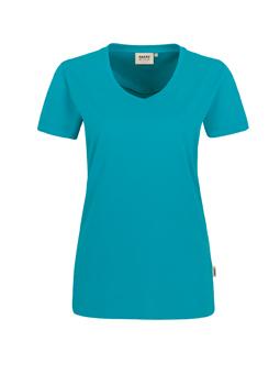 Damen Shirt in Smaragd mit V-Ausschnitt