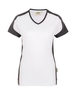 Damenshirt in Weiß mit Kontrastensatz