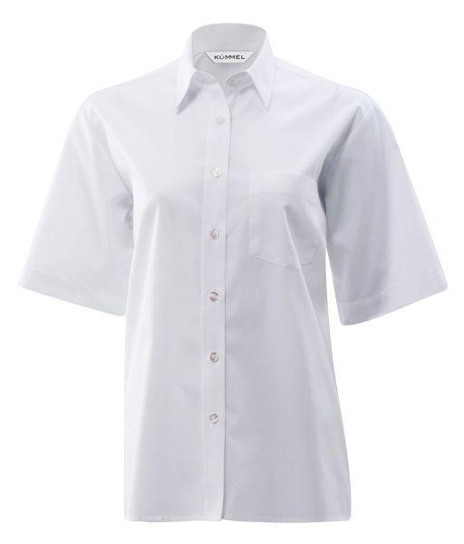 KÜMMEL - Damenbluse Ingrid kurzarm in weiß mit Brusttasche - comfort fit