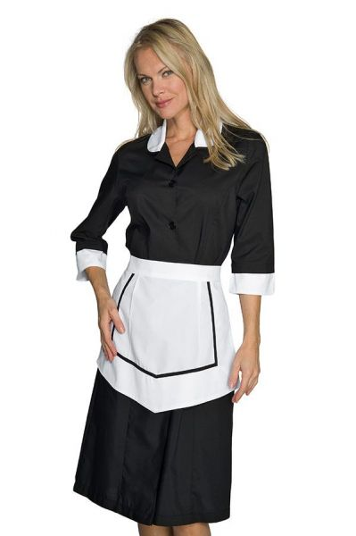 Zimmermädchenkleid schwarz 3/4 Arm Kinshasa isacco
