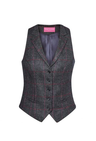 Damenweste Tweed in Anthrazit/Rosa