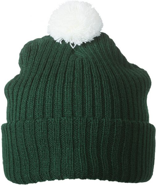 Strickmütze mit Bommel – dark-green/white
