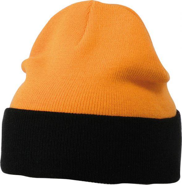 Klassische Strickmütze mit Umschlag orange/black