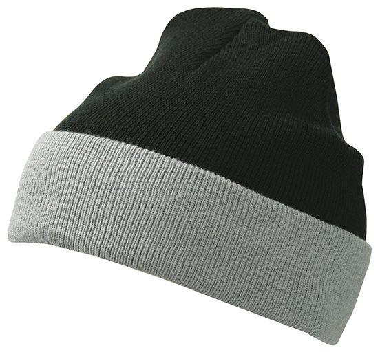 Klassische Strickmütze mit Umschlag black/grey