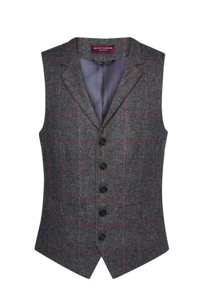 Herrenweste Tweed in Anthrazit/Rosa