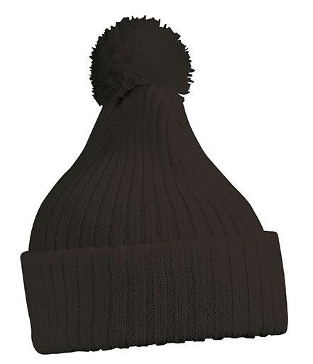 Strickmütze mit Bommel – black