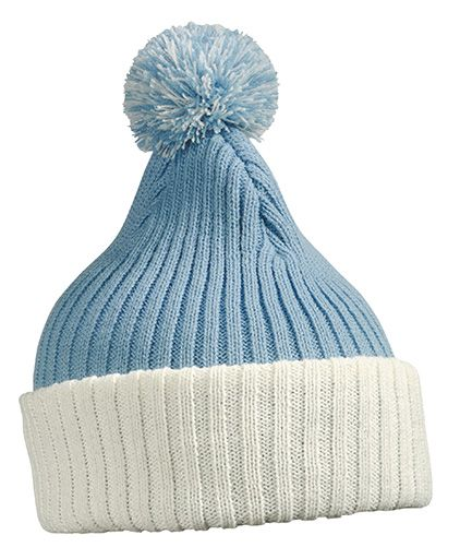 Strickmütze mit Bommel – white/light-blue