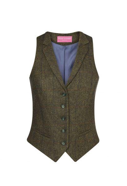 Damenweste Tweed in Grün/Blau