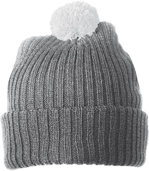 Strickmütze mit Bommel – dark-grey/light-grey