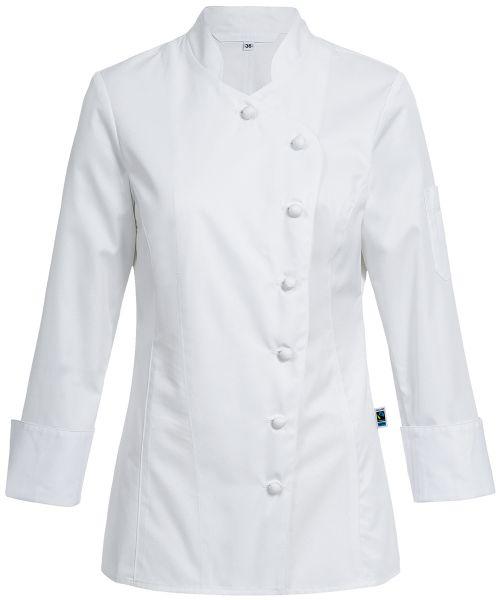 Damen Kochjacke weiss mit Stoffknöpfen regular fit 100% Baumwolle | GREIFF Exquisit 5416