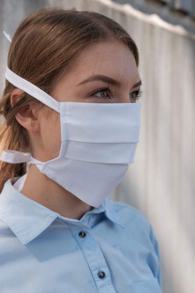FAIRTRADE Mund-Nasen-Maske (Mundschutz) mit 4 Schnüren in weiß - waschbar bis 95° | KiP