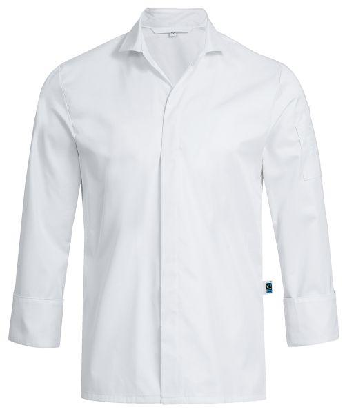 Herren Kochhemd weiss mit V-Ausschnitt slim fit 100% Baumwolle | GREIFF Exquisit 5565