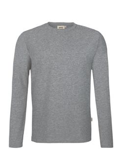 Herren Shirt langarm in Grau meliert