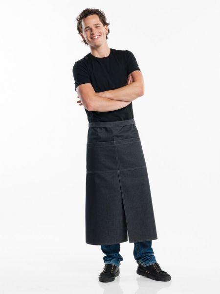 Jeans Schürze black denim - Bistroschürze 90 x 80 cm - Gehschlitz