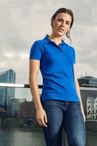 Polohemd Damen Jersey royal blau