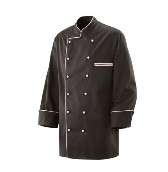 Exner Kochjacke schwarz mit farbiger Paspelierung