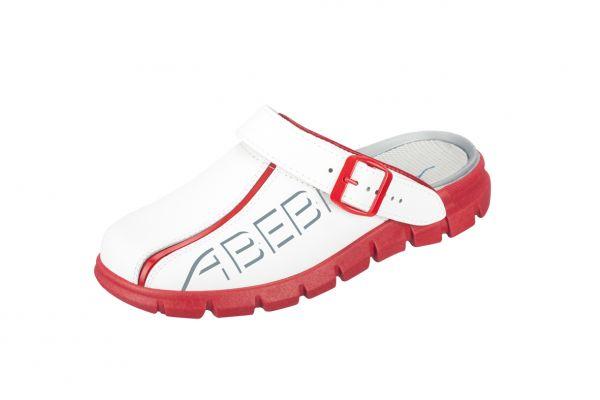 ABEBA dynamic Clog 7313 weiß/rot mit Aufdruck
