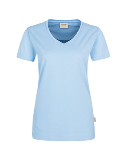 Damen Shirt in Eisblau mit V-Ausschnitt