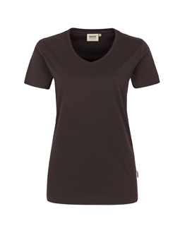 Damen Shirt in Schokolade mit V-Ausschnitt