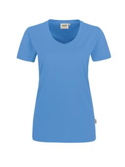 Damen Shirt in Malibublau mit V-Ausschnitt