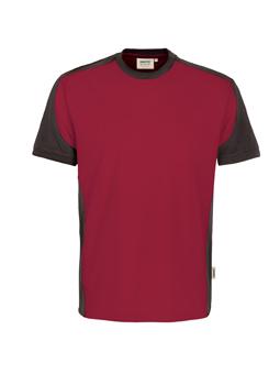 Herrenshirt in Weinrot mit Kontrastensatz