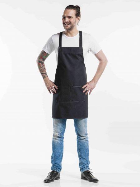 Jeans Schürze black denim - Latzschürze 70 x 80 cm