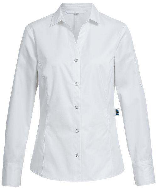 Damen Kochbluse weiss mit V-Ausschnitt slim fit 100% Baumwolle | GREIFF Exquisit 5406