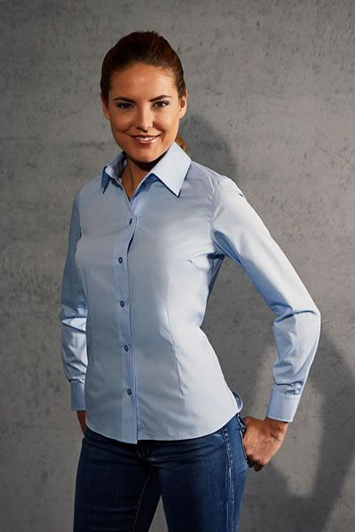Modernes Popeline Shirt Longsleeve für Frauen | Promodoro 6315