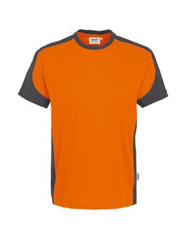 Herrenshirt in Orange mit Kontrastensatz