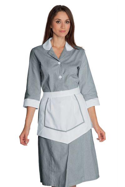 Modernes Zimmermädchenkleid Hauskleid Lipari grau/weiß 3/4-Arm | isacco 007361