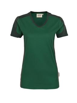Damenshirt in Tanne mit Kontrastensatz