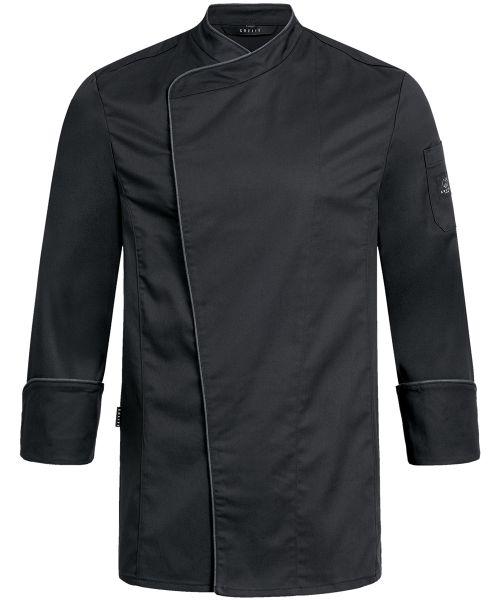 Herren Kochjacke schwarz mit Paspelierung regular fit | GREIFF Premium 5577