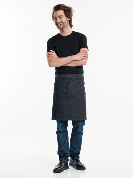 Jeans Schürze black denim - Bistroshürze 90 x 50 cm